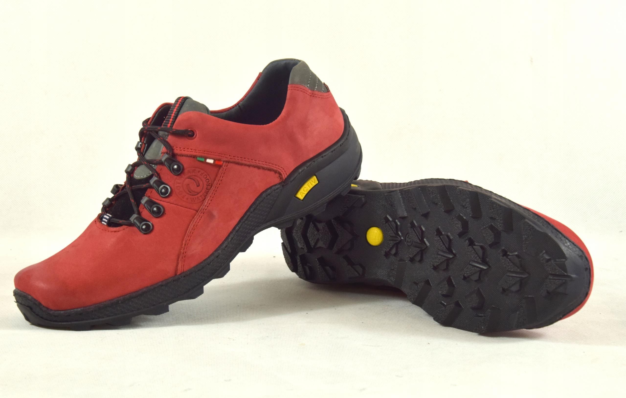 Półbuty czerwone trekkingowe męskie skórzane 296 Rozmiar 45