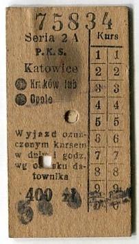 КАТОВИЦЕ - КРАКВ / OPOLE :: Билет на ПКС: 1949 г.
