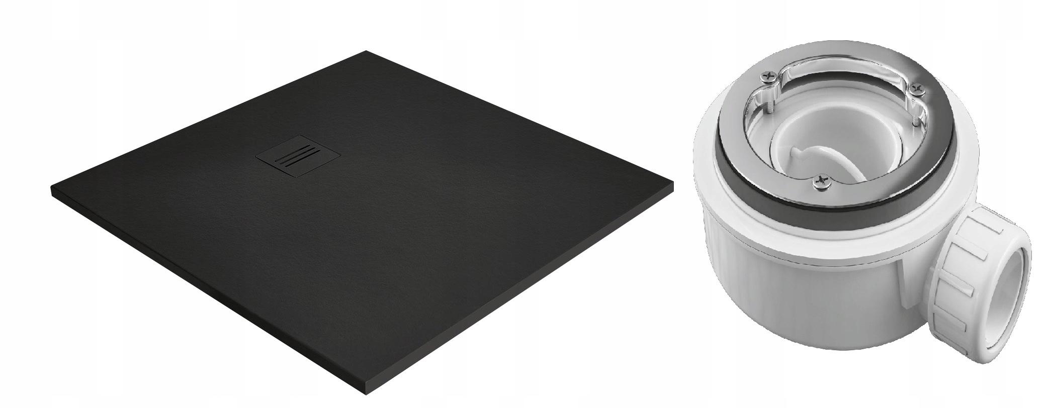 Čierna sprchová vanička Kyntos c 100x100 Radaway + sifón