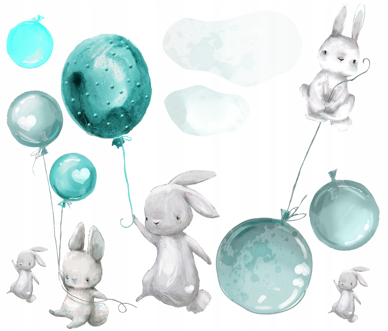 naklejki dla dzieci na ścianę balony balon królik