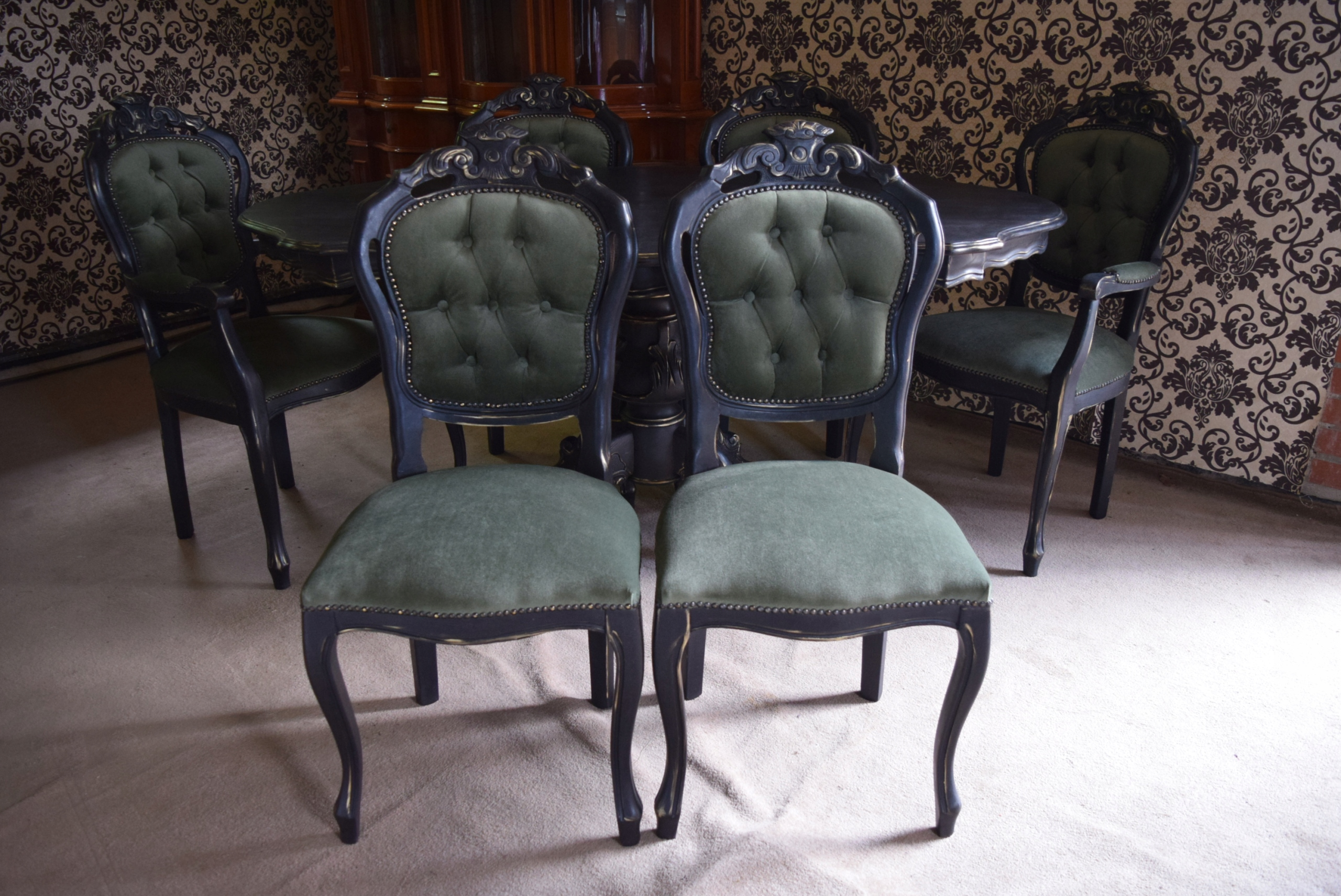 Čierny stolík 6 Retro podkrovné stoličky Shabby Chic!
