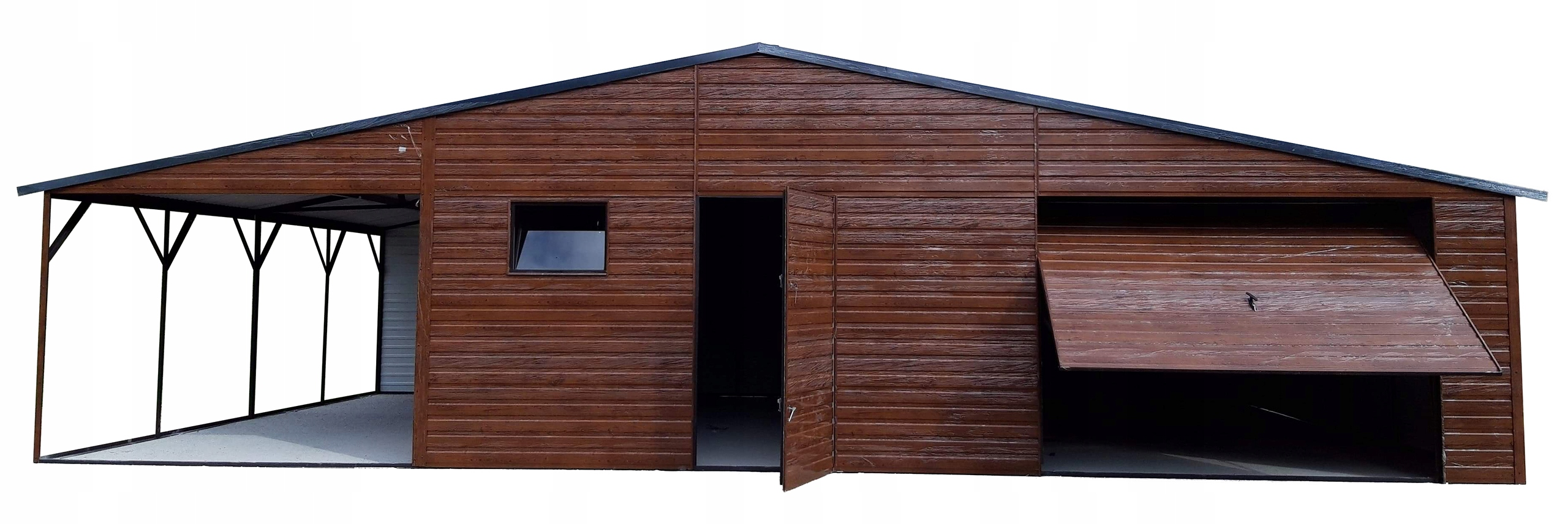 Tin Garage Hala Shed Walnut 8 + окно ворот 3x7