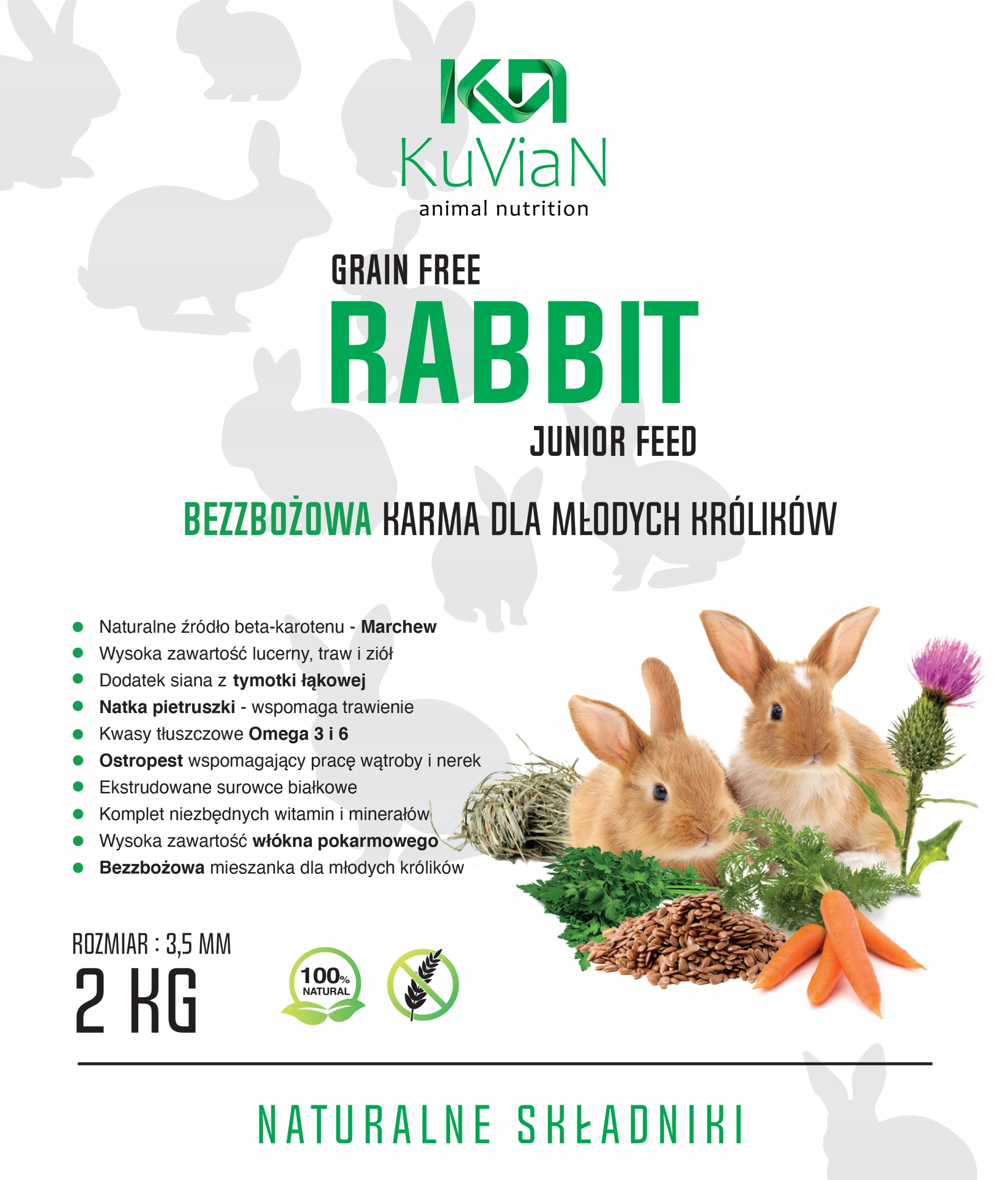 BEZZBOŻOWA Karma pokarm dla królika, KRÓLIK JUNIOR