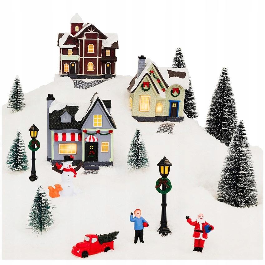 Рождественские деревенские фигурки украшения светодиодные фонари
