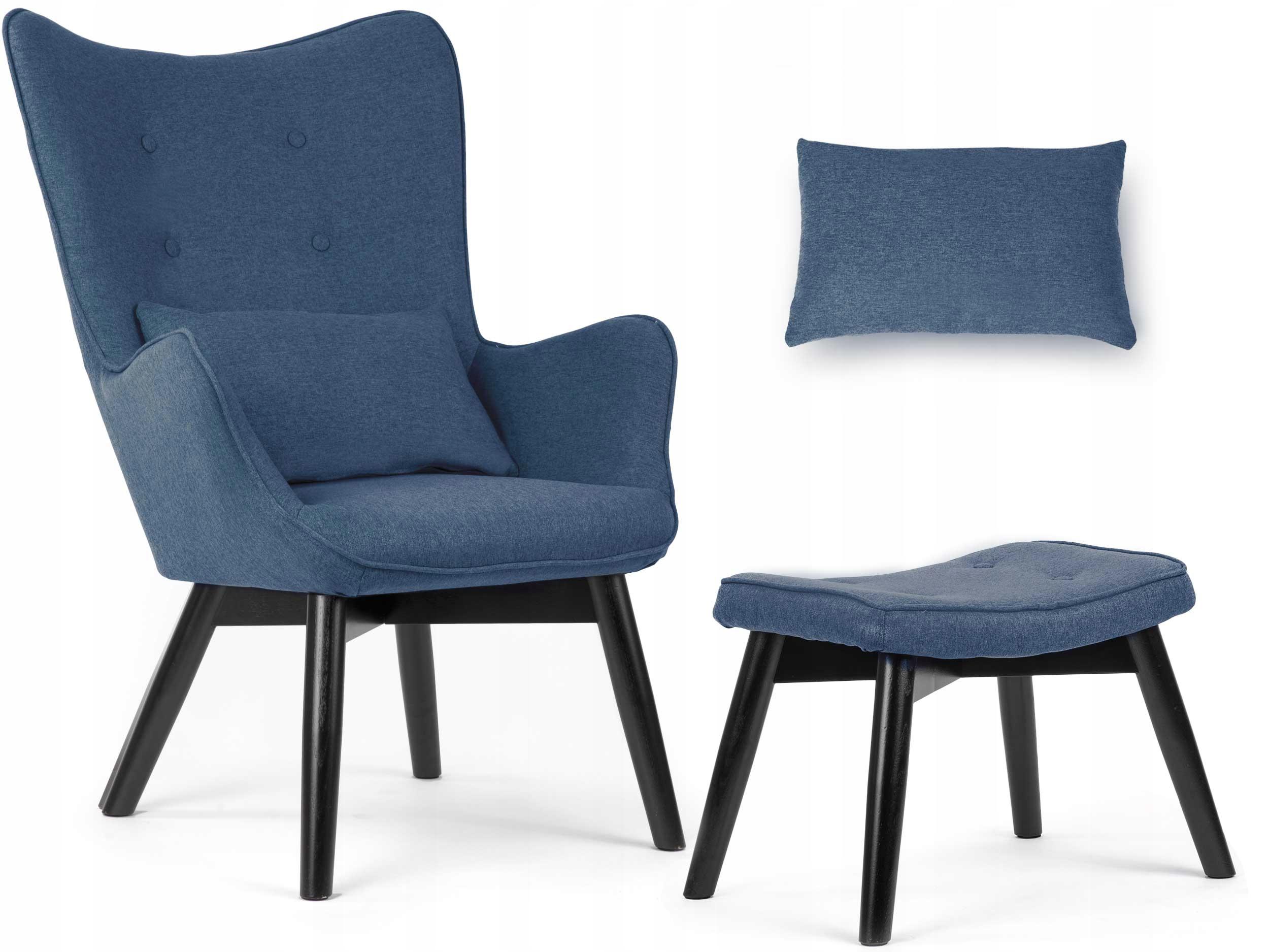 Fotel USZAK styl skandynawski + podnóżek poduszka