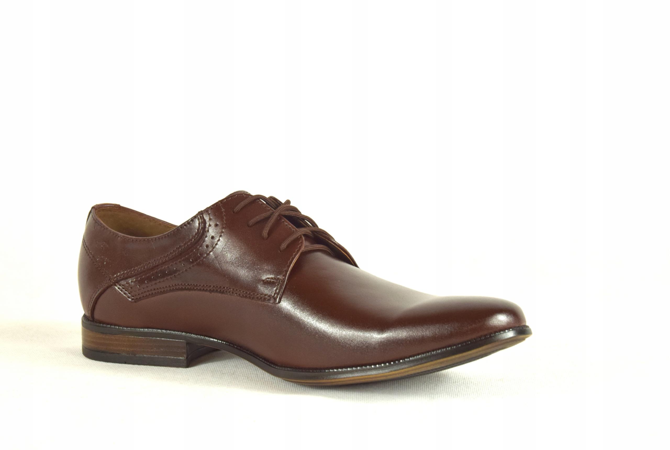 Buty męskie wizytowe skórzane brązowe obuwie 11 Marka inna