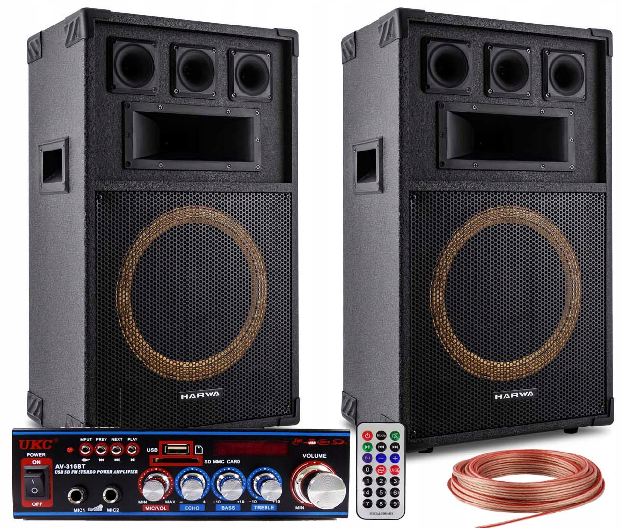 Item 2 POWERFUL SPEAKERS ADAPTIVE AMPLIFIER MP3 USB TV/PC