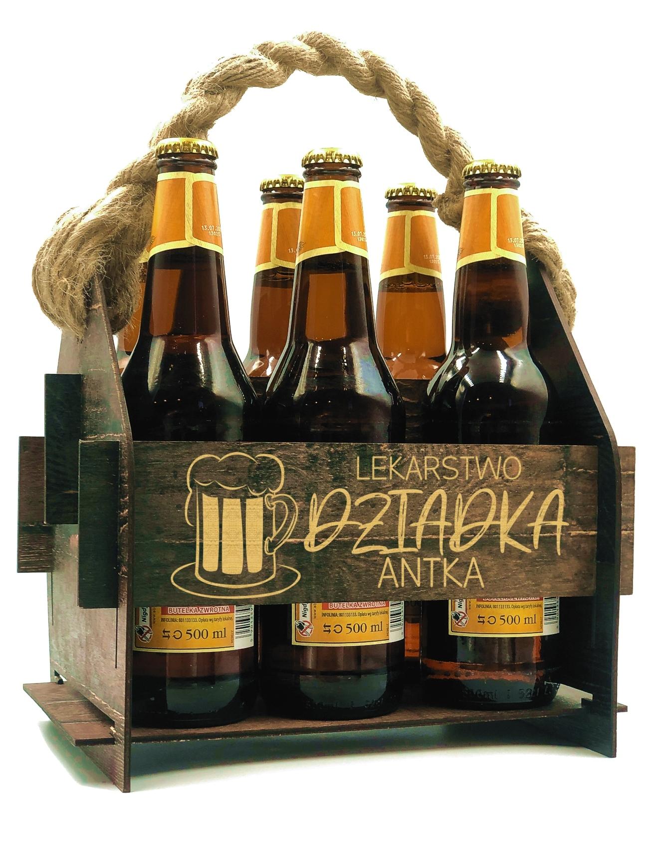 Деревянная шкатулка для пива с гравировкой для подарка