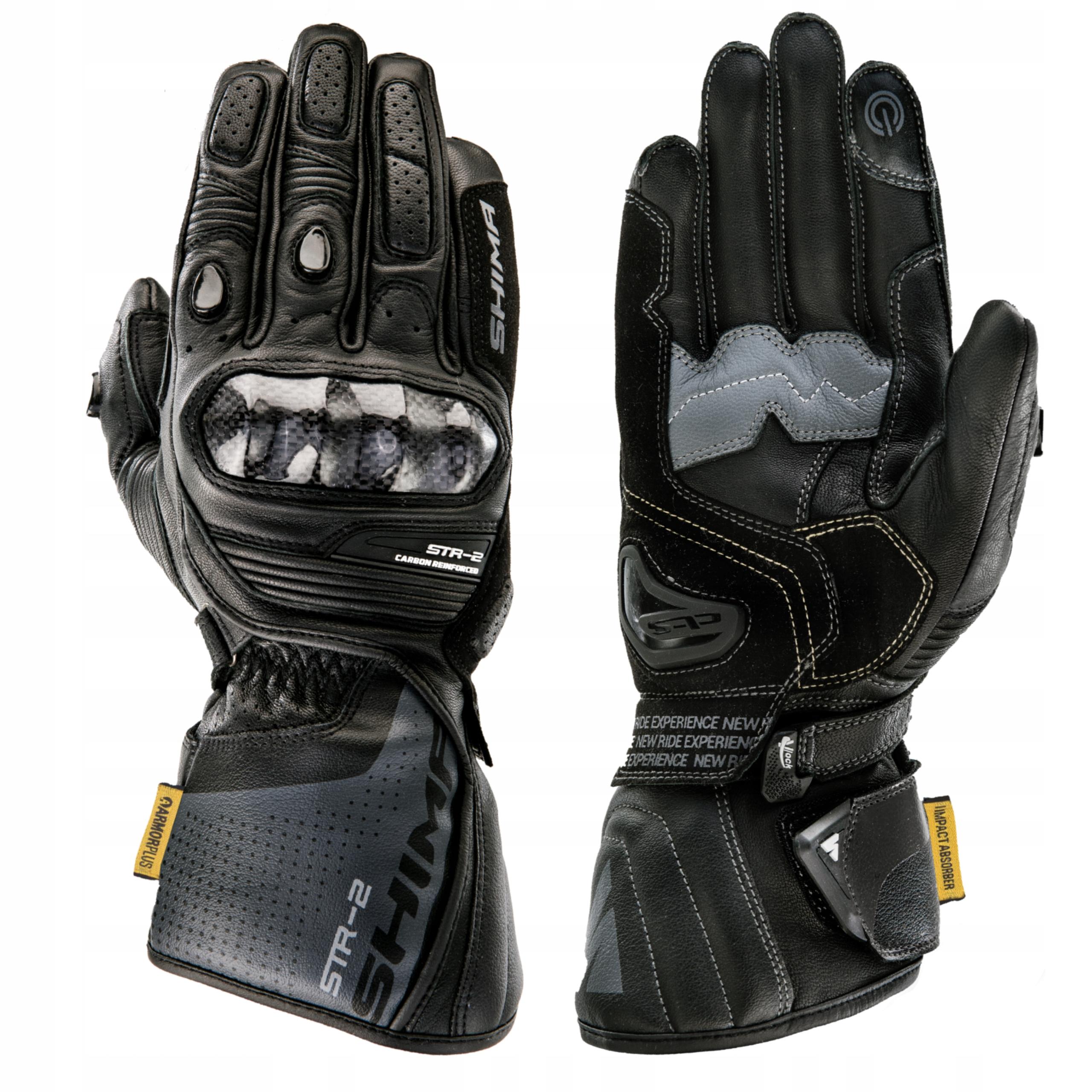 Rękawice motocyklowe SHIMA STR-2 BLACK GRATISY