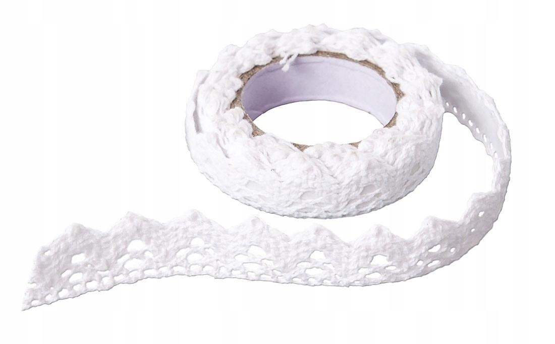 Koronka bawełniana samoprzylepna - biała, 1,80 m