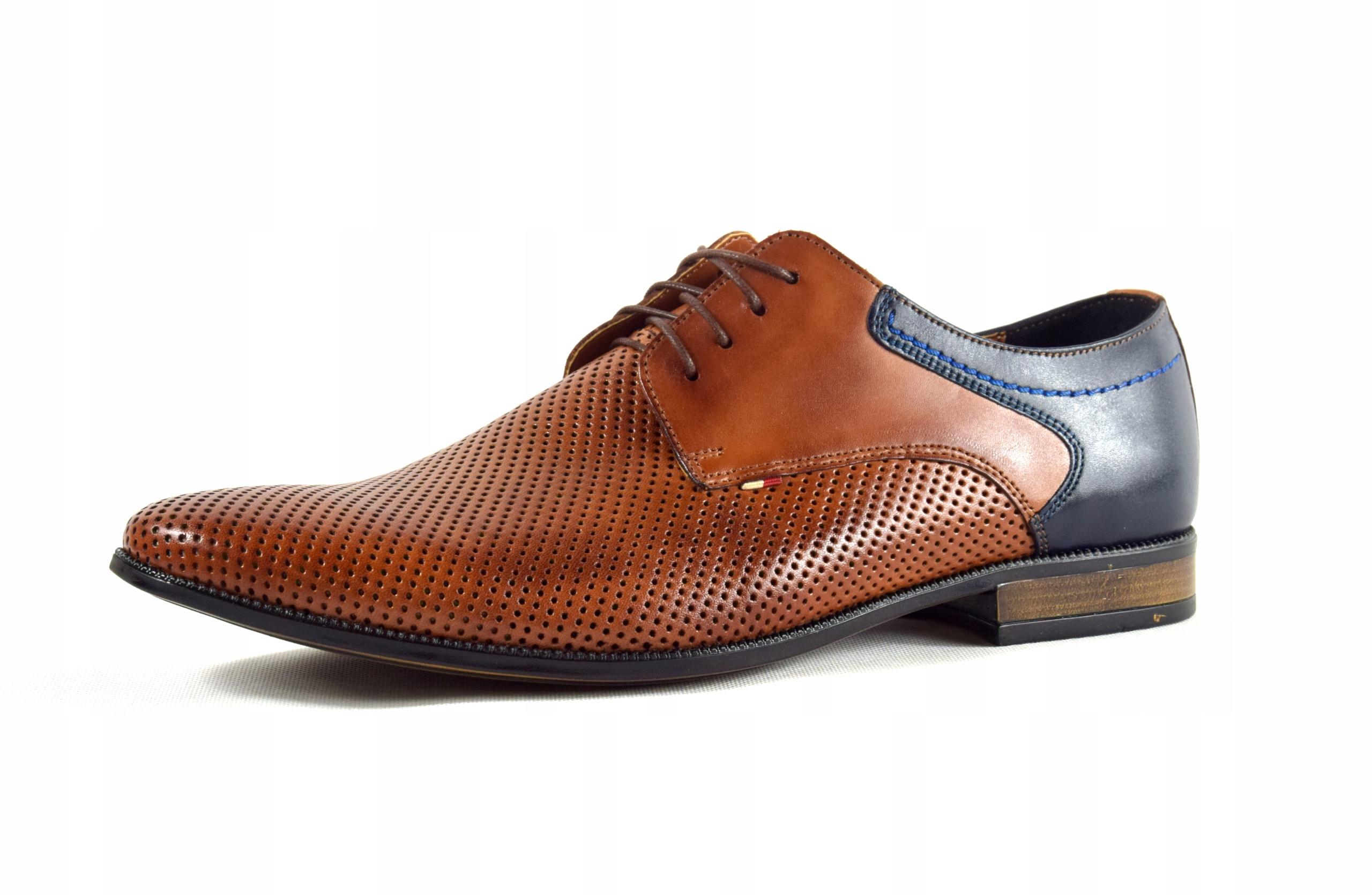 Buty męskie wizytowe skórzane brązowe obuwie 322 Marka inna