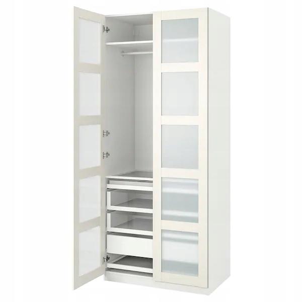 IKEA PAX BERGSBO šatník biele sklo Mat 100x60x236