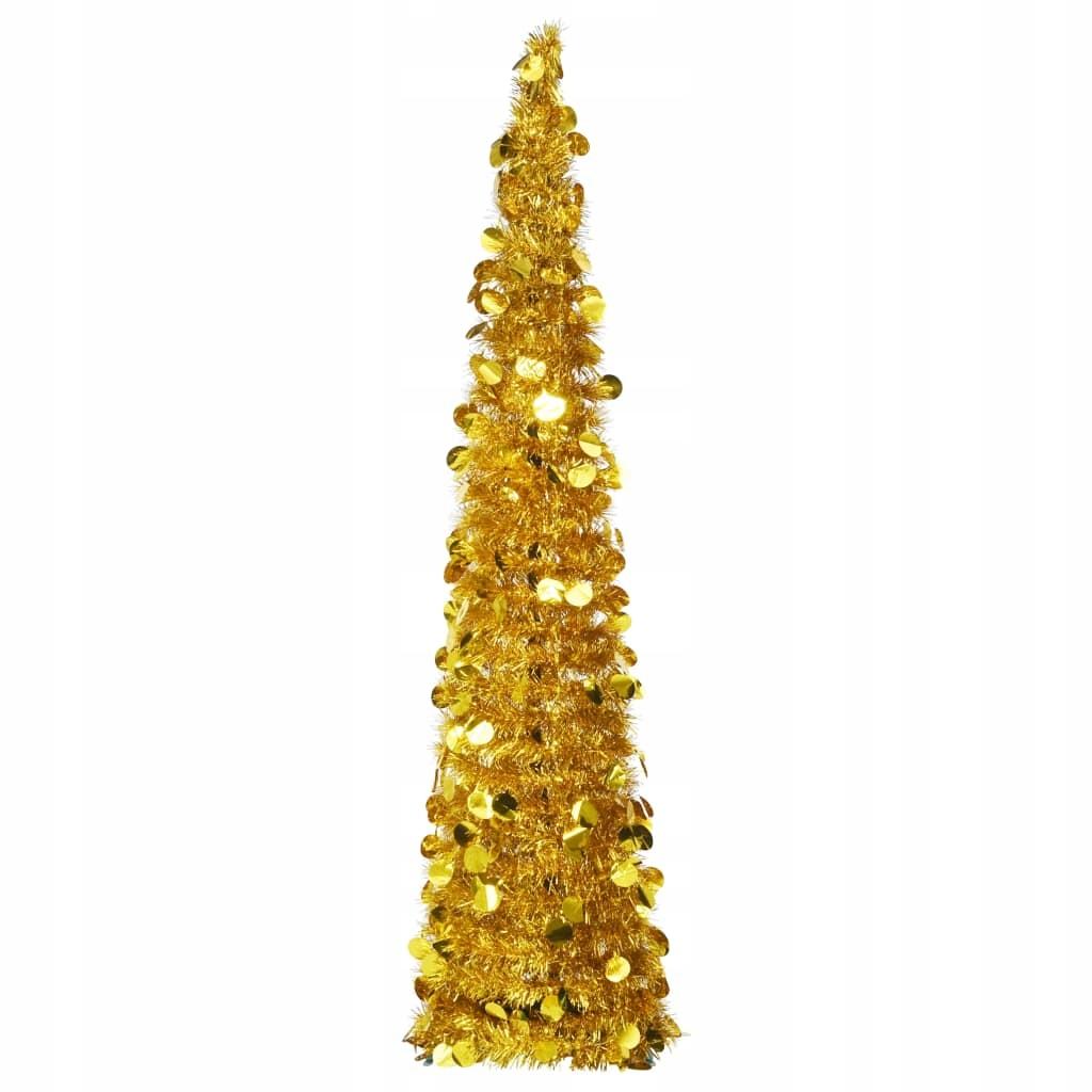Skladací, umelý vianočný stromček, zlatý, 150 cm, PET