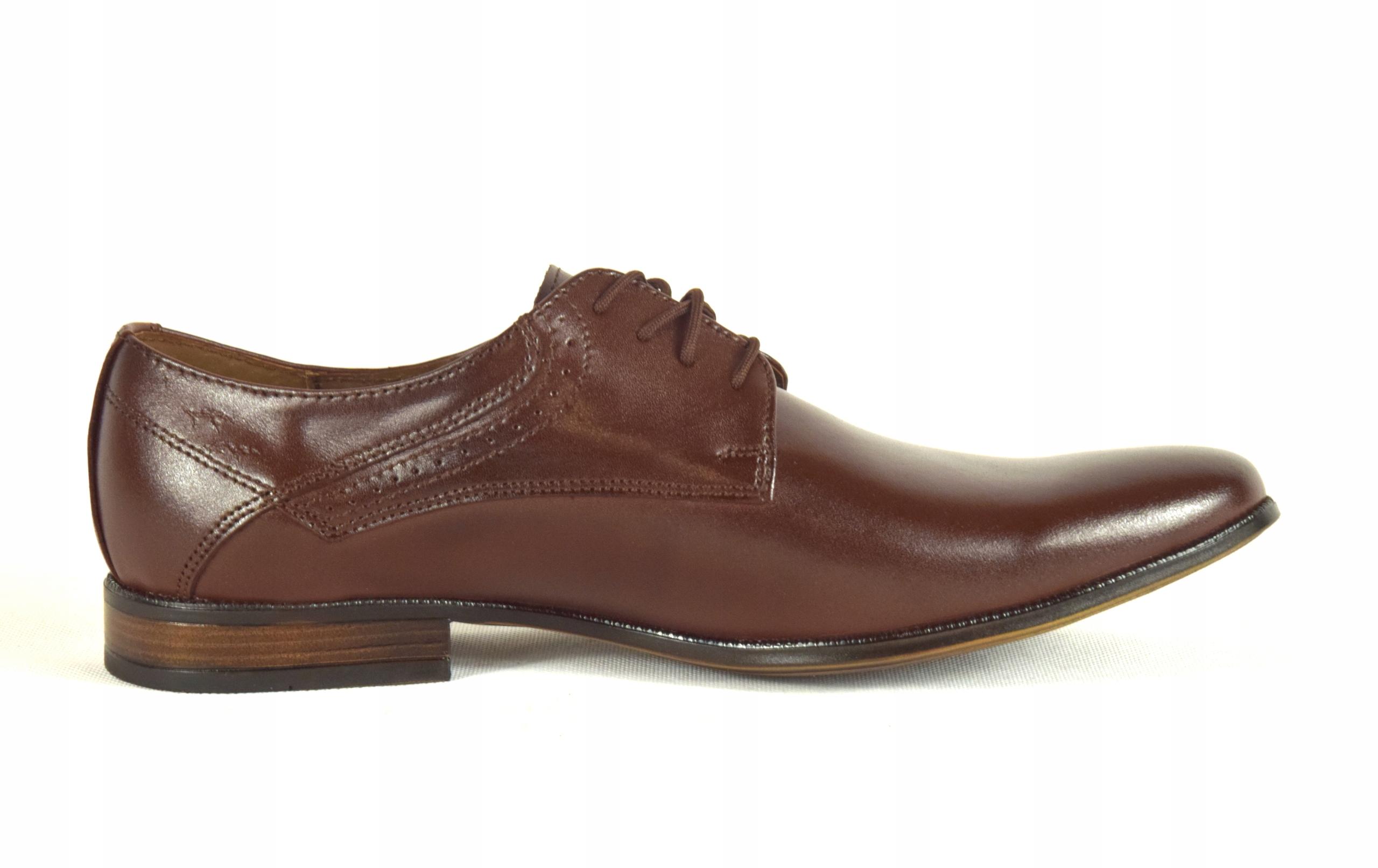 Buty męskie wizytowe skórzane brązowe obuwie 11 Model Półbuty