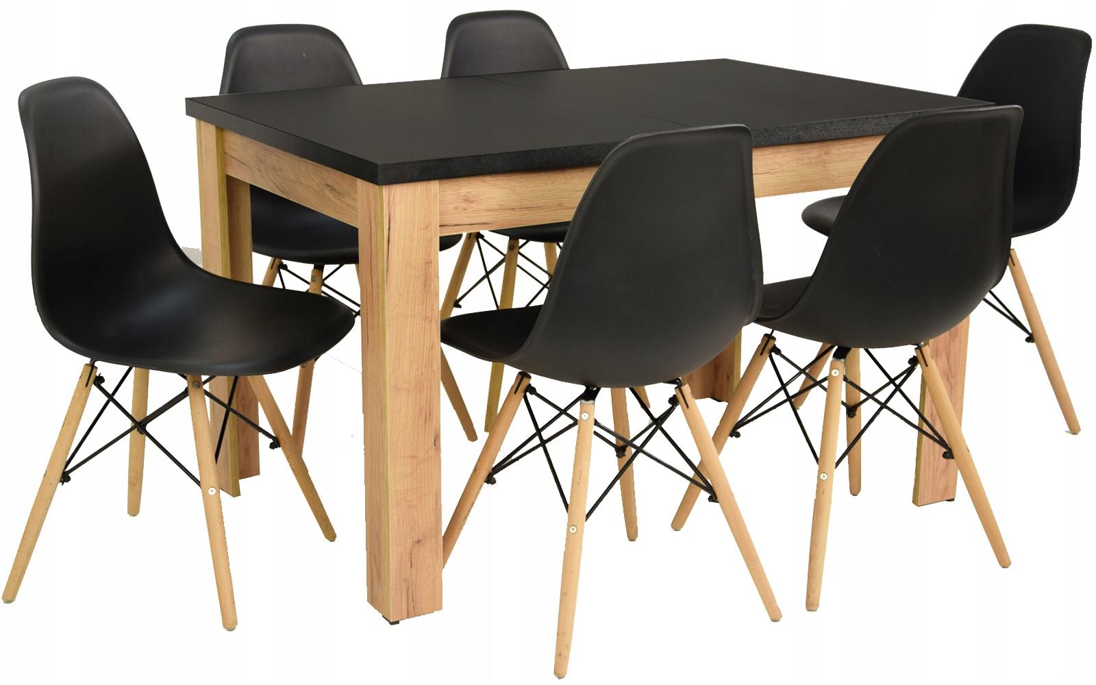 Skandynawski zestaw stół 80x120/160 plus 6 krzeseł