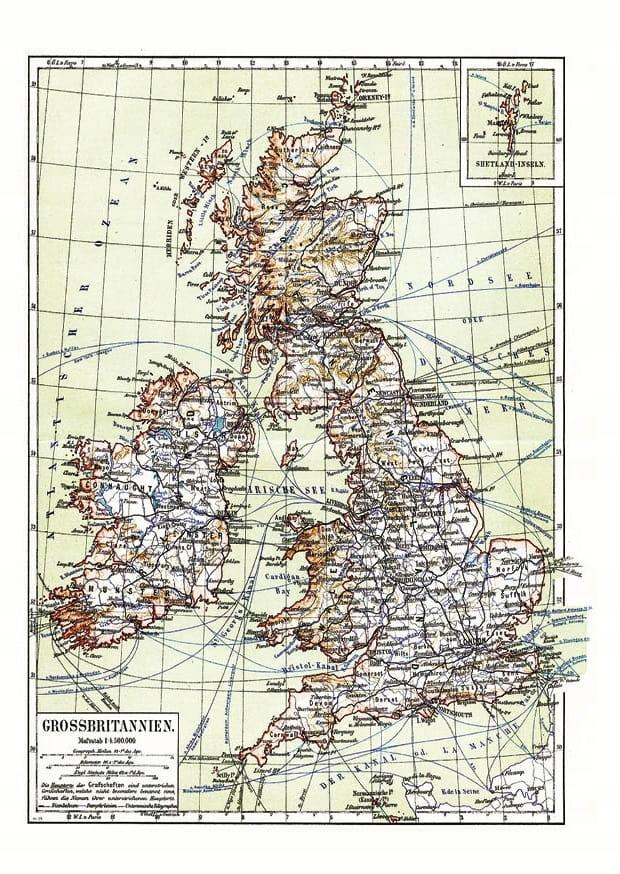Mapa Veľkej Británie