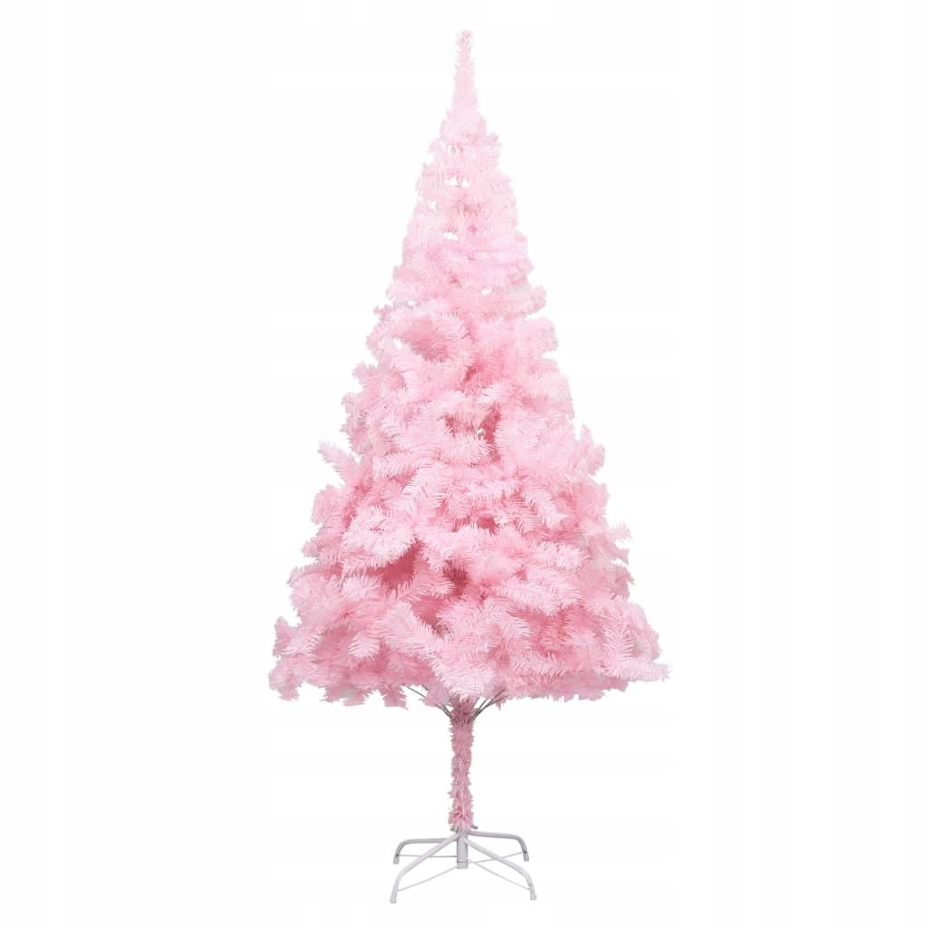 Umelý vianočný stromček so stojanom, ružový, 180 cm, PVC