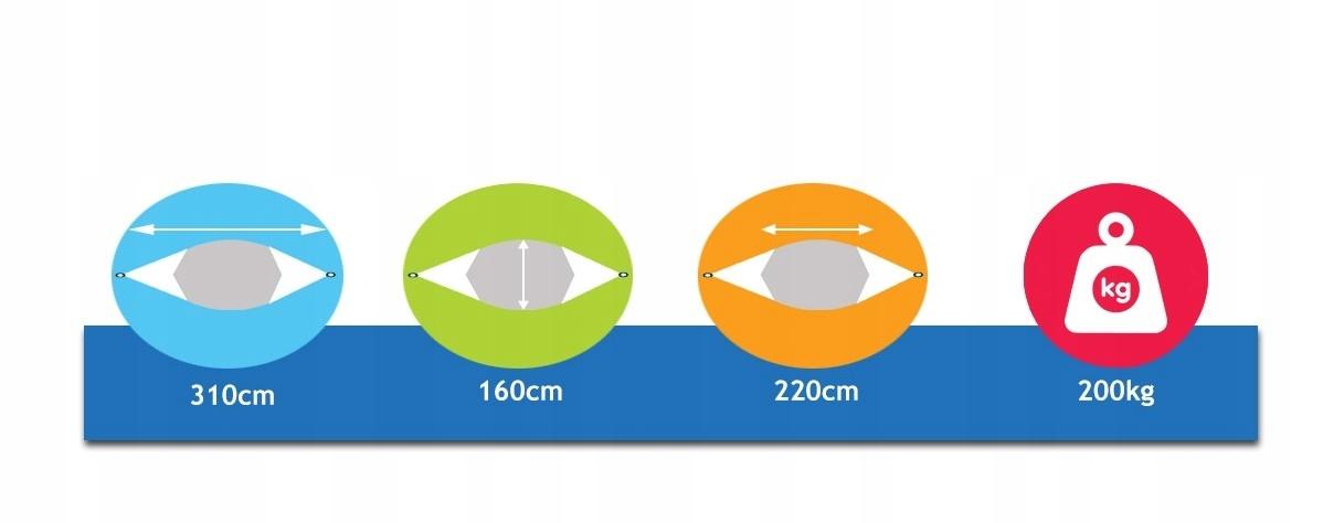 POTENZA Stelaż stalowy TYTAN+ Hamak Roma 220x160cm Waga 31 kg