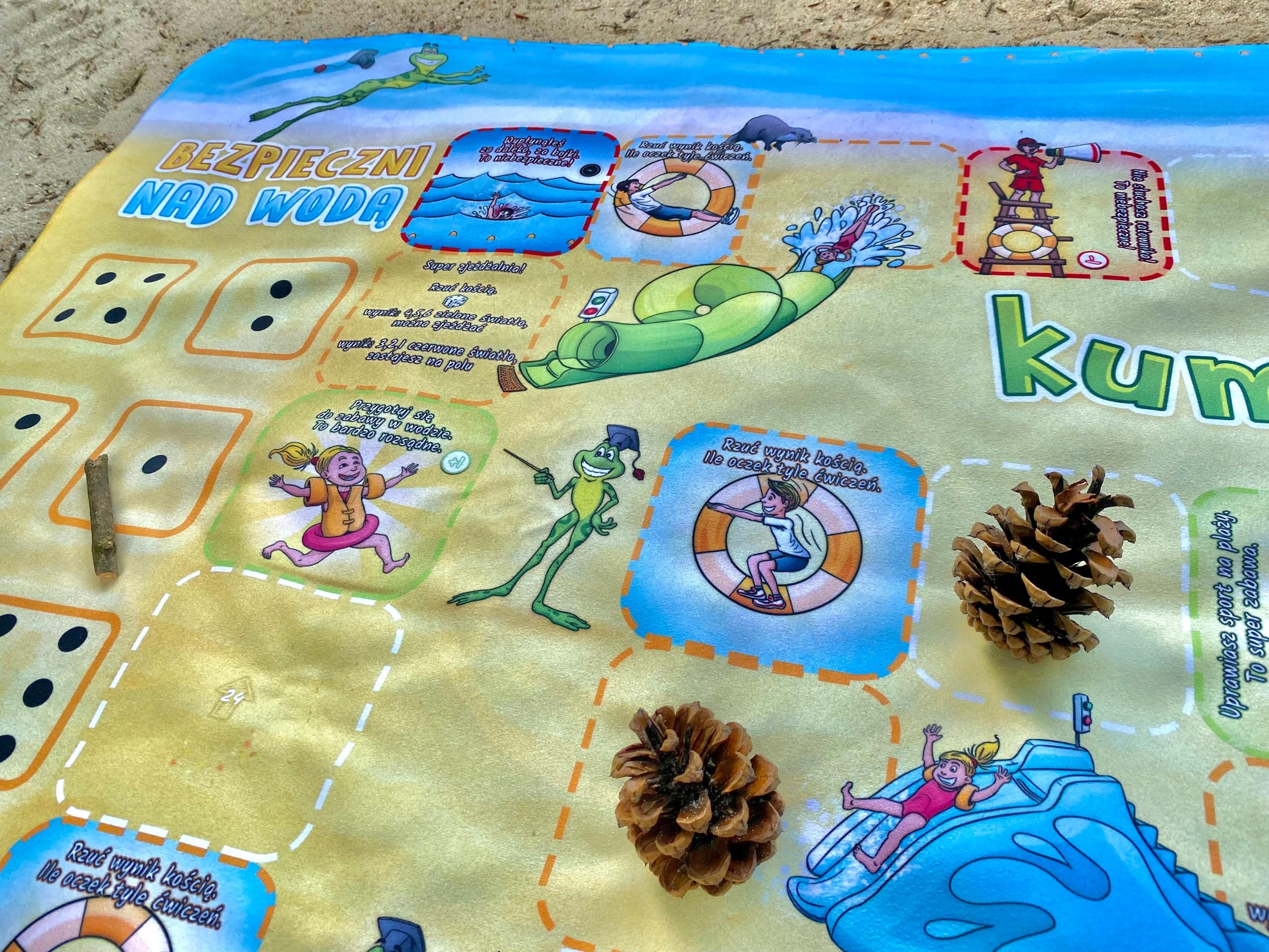 Ręcznik plażowy dla dzieci - gry + akcesoria Długość 140 cm