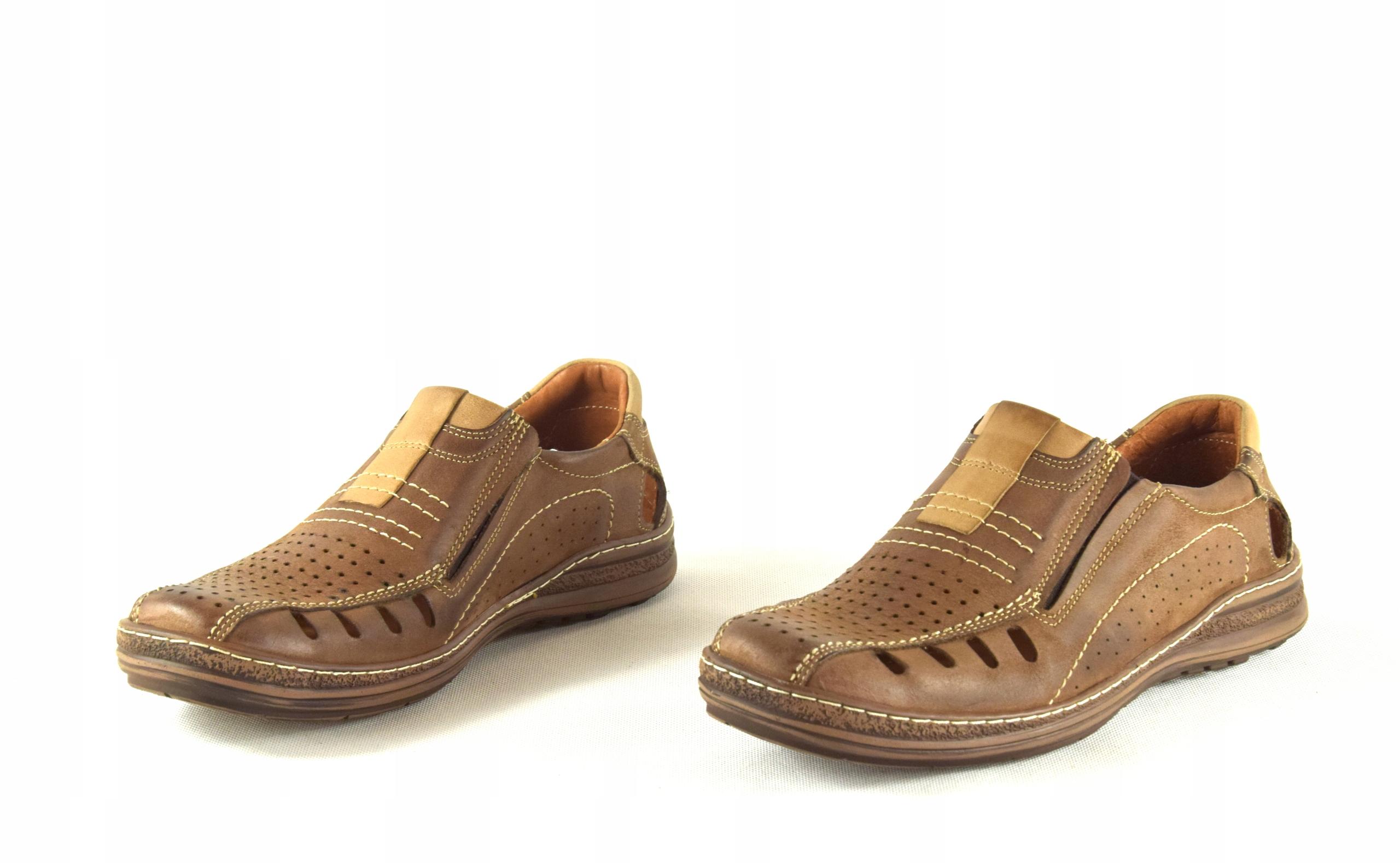 Mokasyny na lato buty ze skóry męskie dziurki 190L Materiał zewnętrzny skóra naturalna