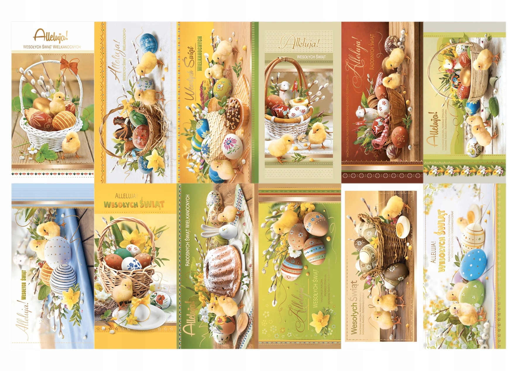 12szt KARTKI LAURKI ŚWIĄTECZNE WIELKANOCNE DŁUGIE