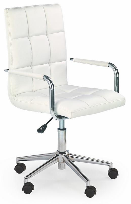 Fotel Obrotowy Biały Krzeszło Eko Skóra Dziecko