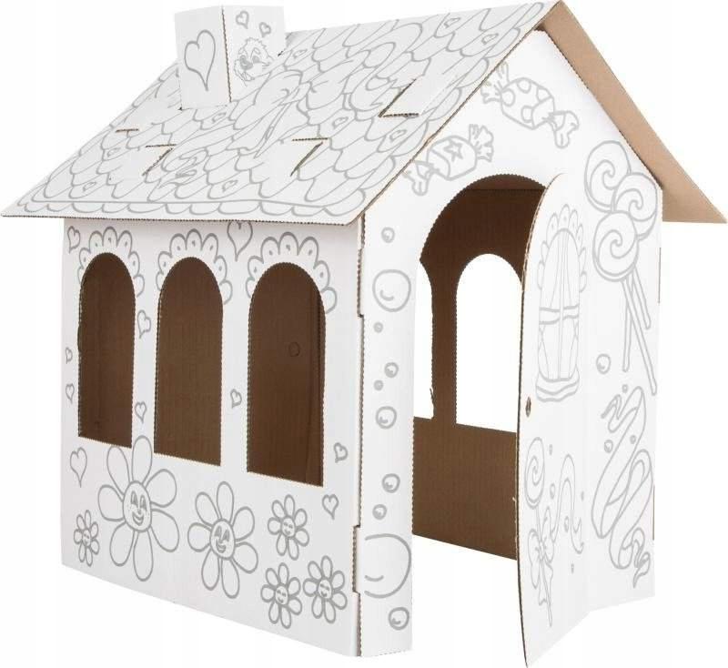 Domek dla lalek z kartonu do malowania tekturowy