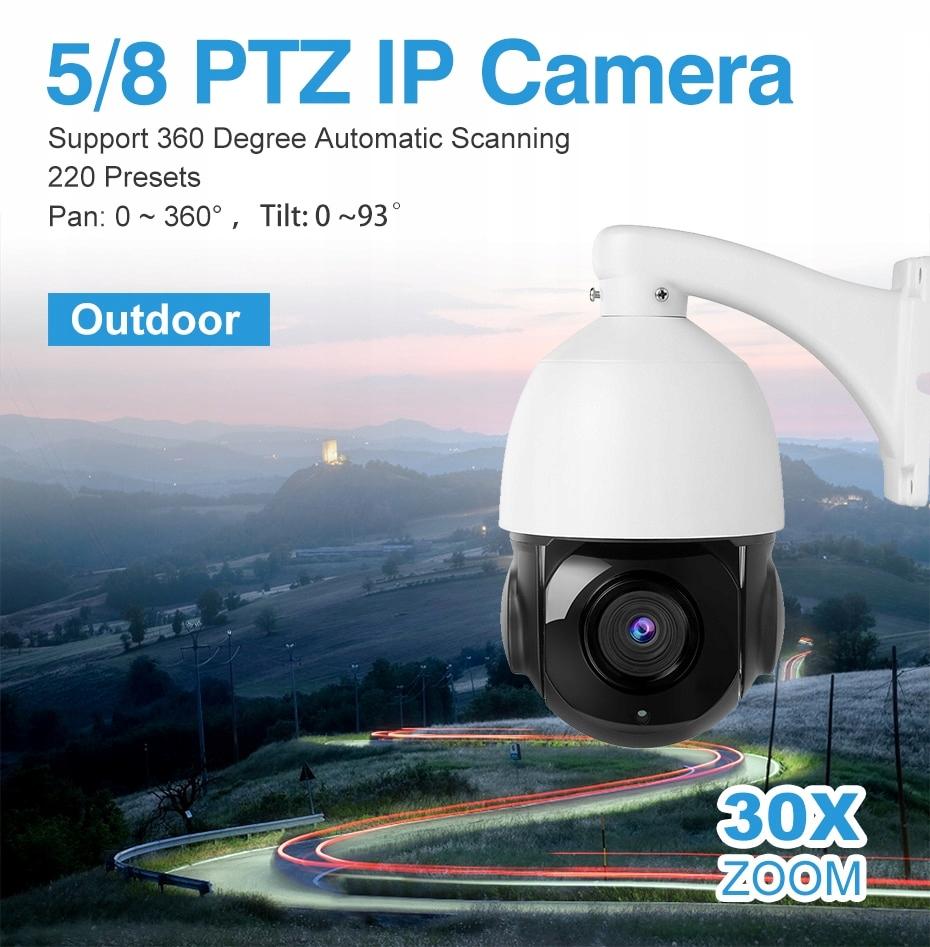 Kamera Obrotowa IP sieciowa 4K 8MPX IR100m 30xZoom Typ kamery czarno-biała kolorowa na podczerwień