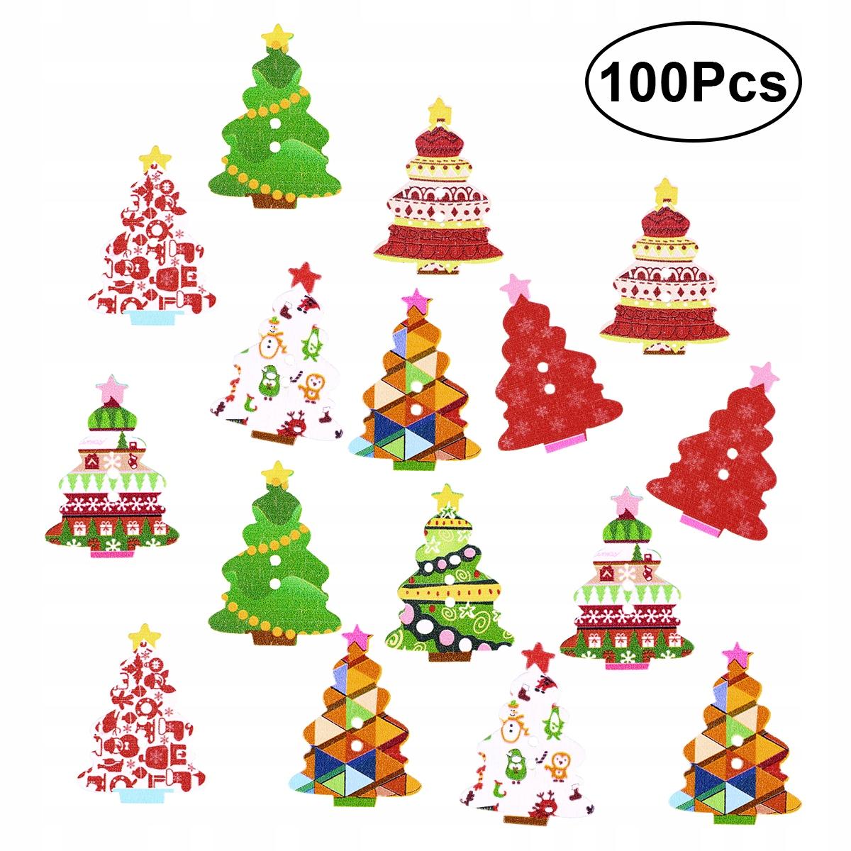 100шт Рождество 2 отверстия деревянная пуговица