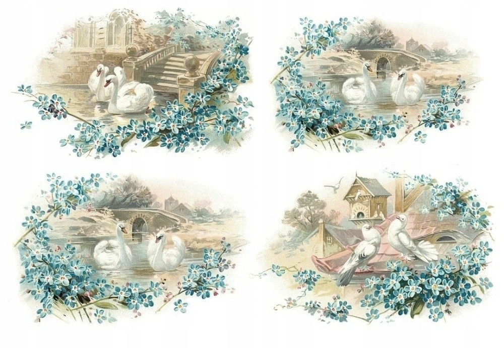 Papier ryżowy A4 papiery ryżowe Ptaki kwiaty
