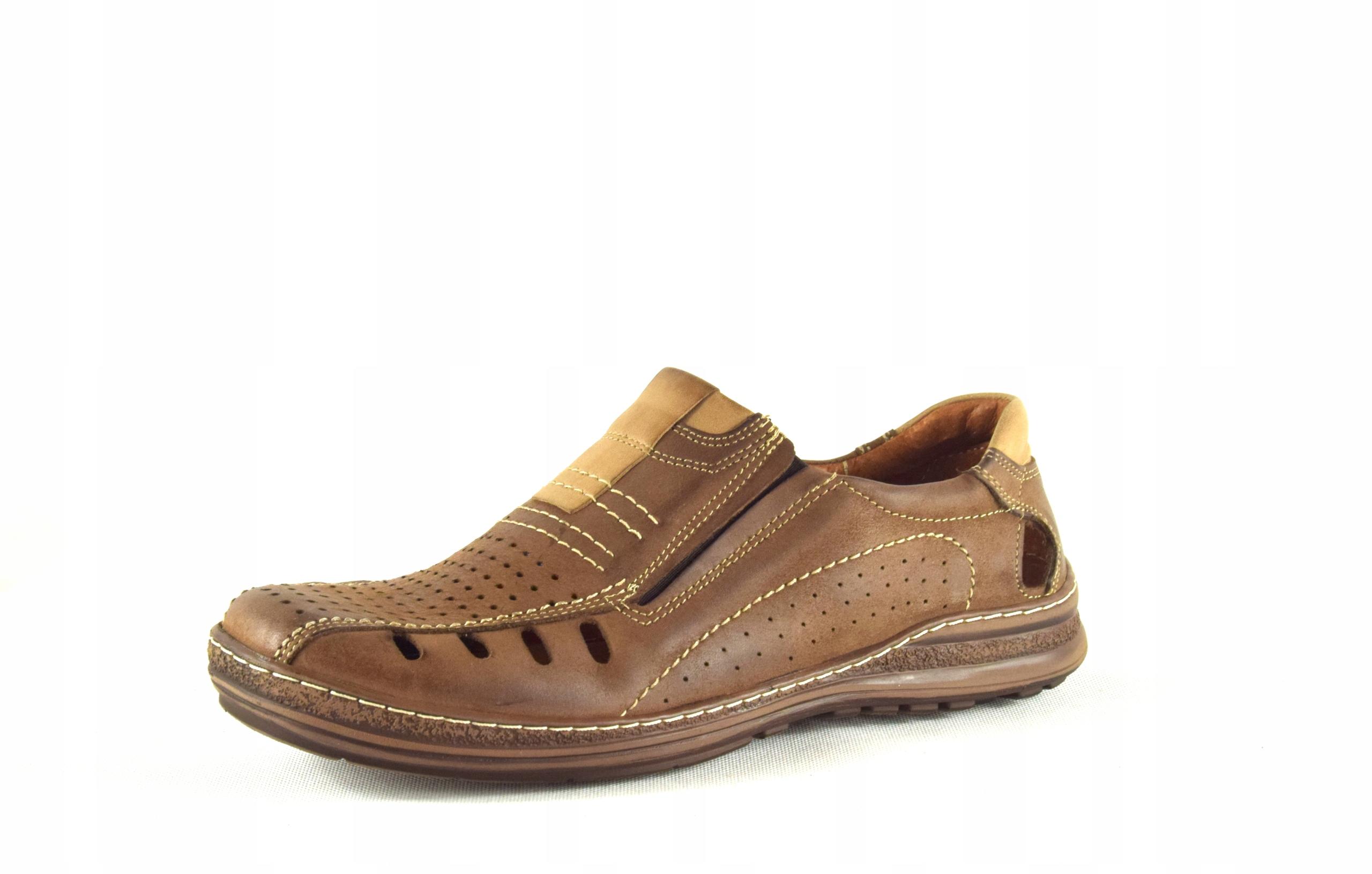 Mokasyny na lato buty ze skóry męskie dziurki 190L