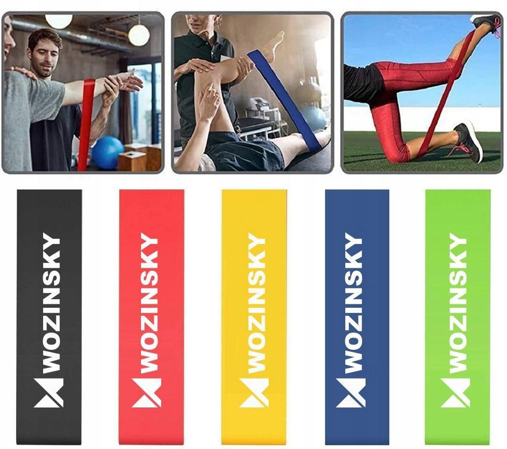 Taśmy Gumy oporowe do ćwiczeń joga fitness Liczba sztuk w zestawie 5 szt.