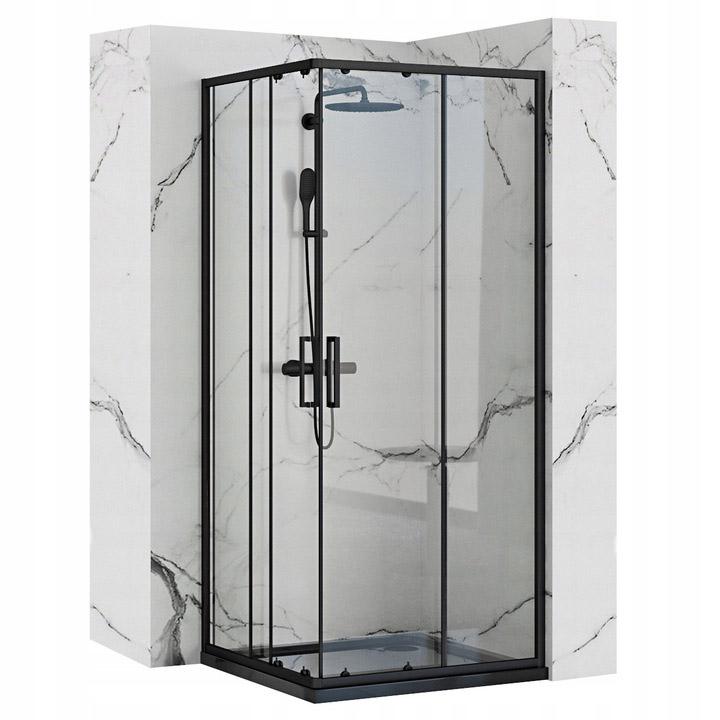 Narożna Kabina Prysznicowa Punto Czarna 80x80 Rea