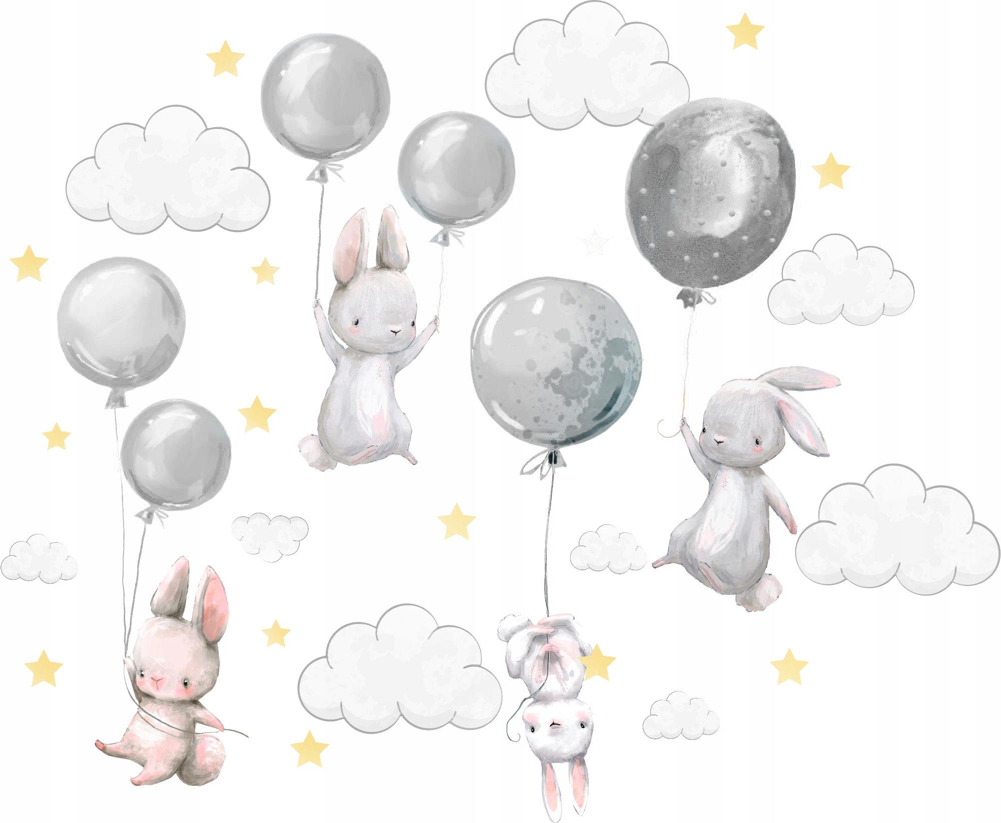 Naklejki na ścianę Króliczki balony dla dzieci L 5
