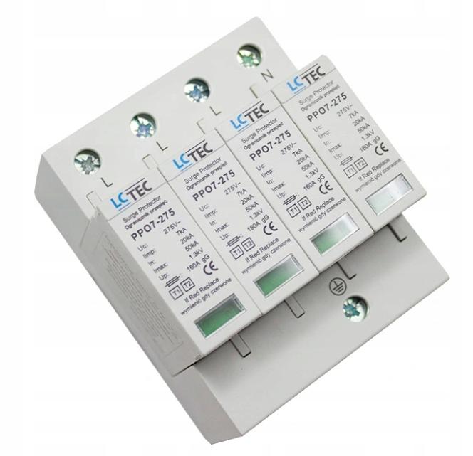 LcTec T1 + T2 (B + C) 4P 7kA ограничитель перенапряжения