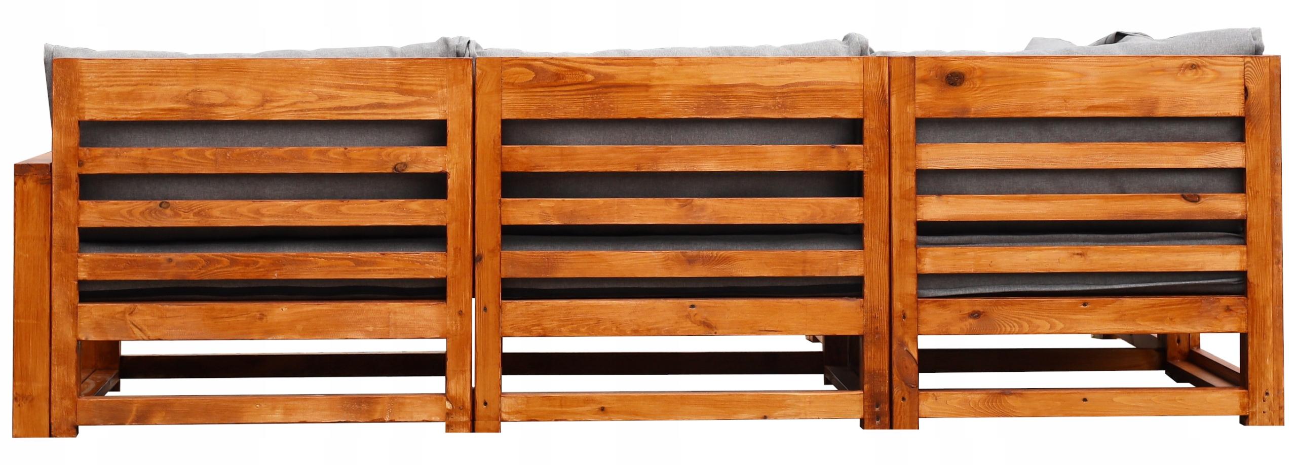 Sada dreveného záhradného nábytku pre 4 SEDADLÁ + 2 LAVICE. Obsah sady: nízky rohový stolík, konferenčný stolík