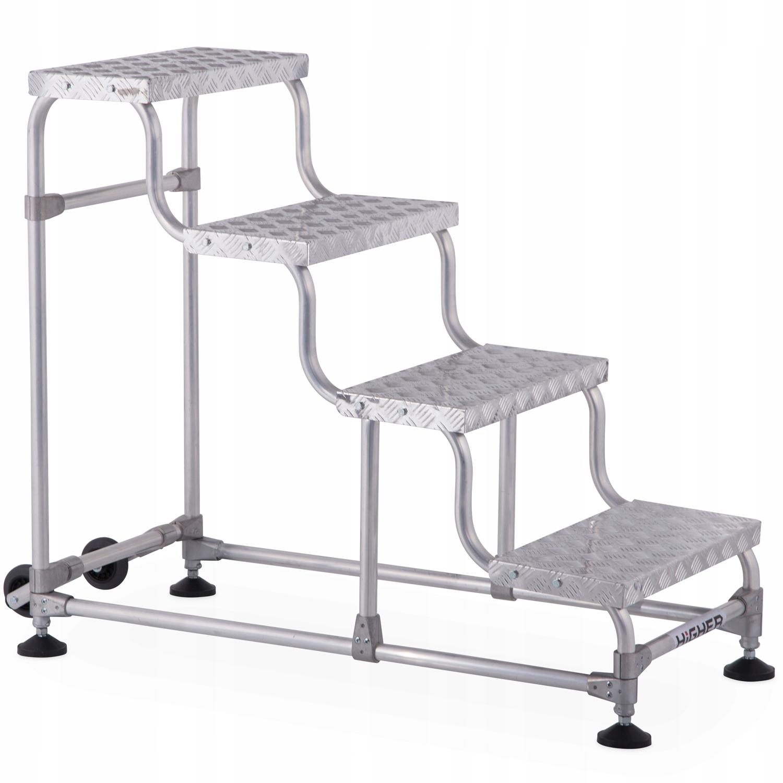 Aluminiowe schody magazynowe jezdne HIGHER 4 st