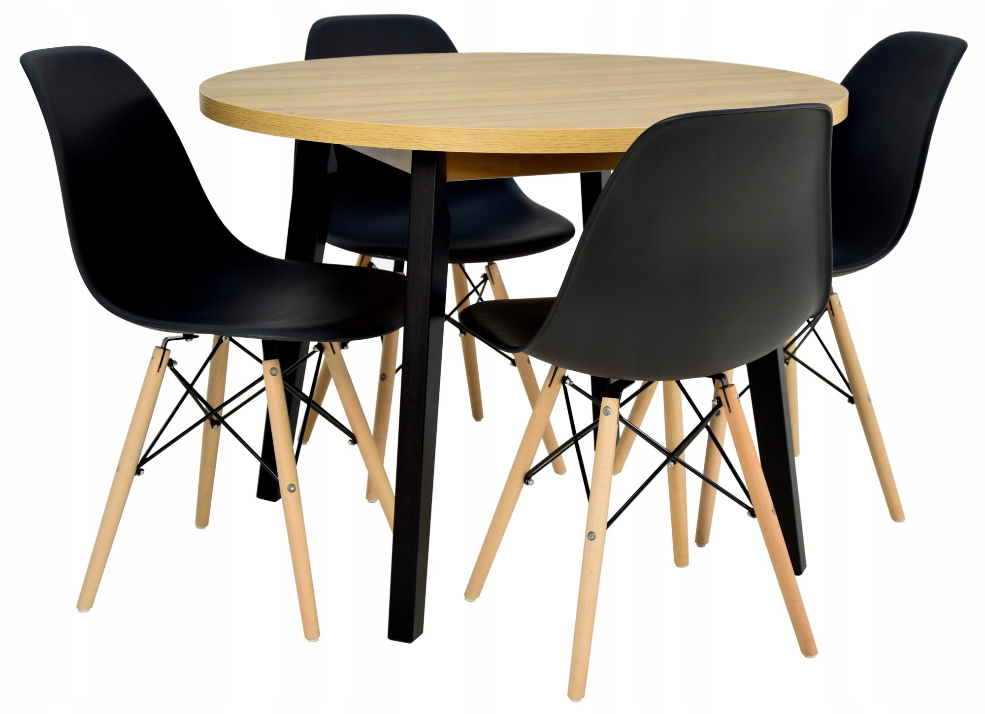 SOLIDNY stół okrągły 100 cm + 4 CZARNE krzesła