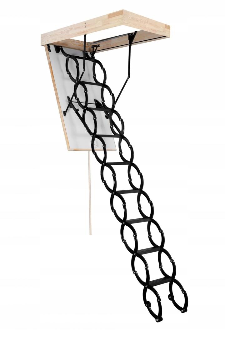 Schody strychowe nożycowe metalowe FLEX 120x70 Szerokość skrzyni 70 cm