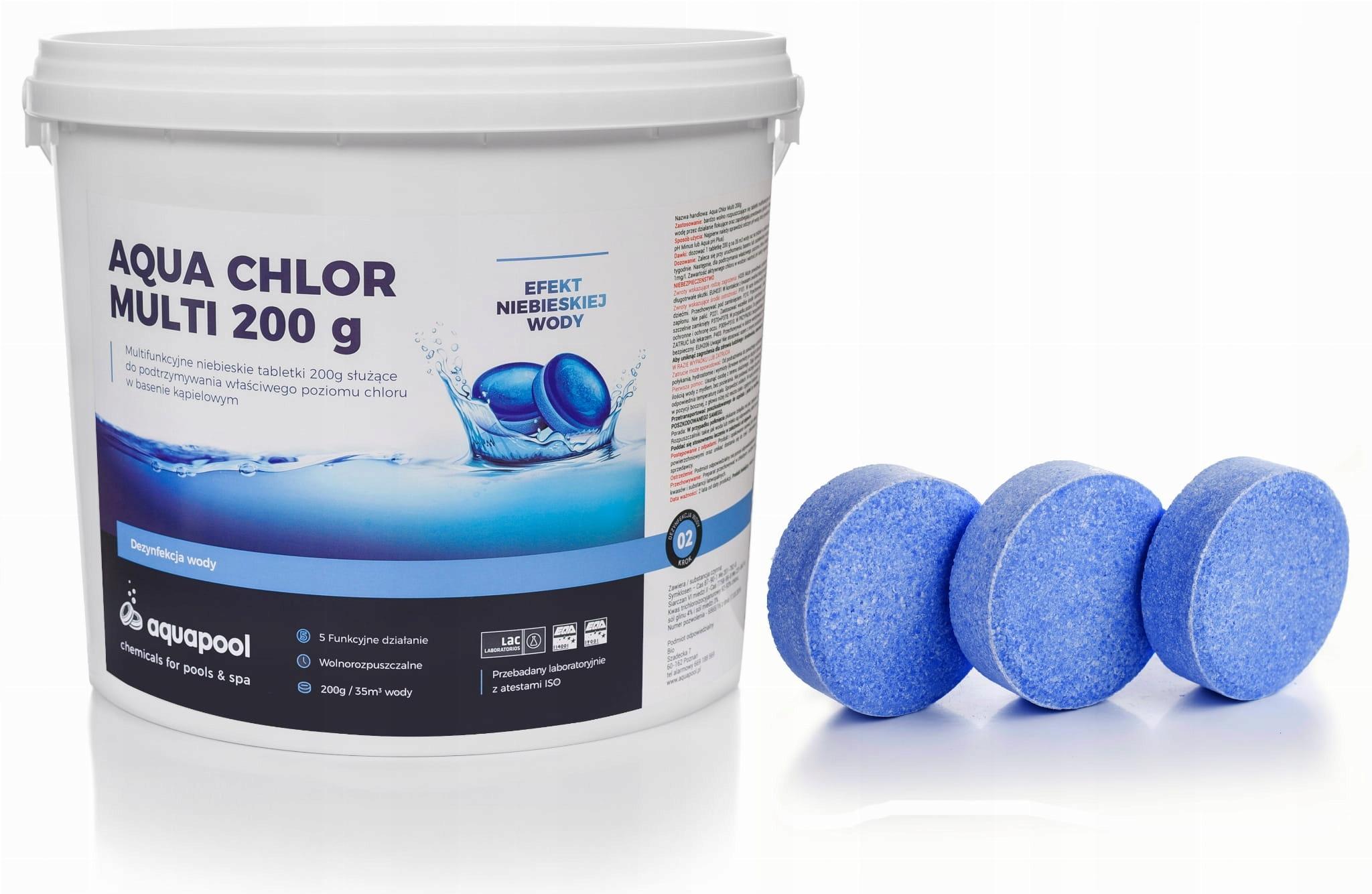CHLOR TABLETKI BLUE 200g CHEMIA NIEBIESKA WODA 5kg