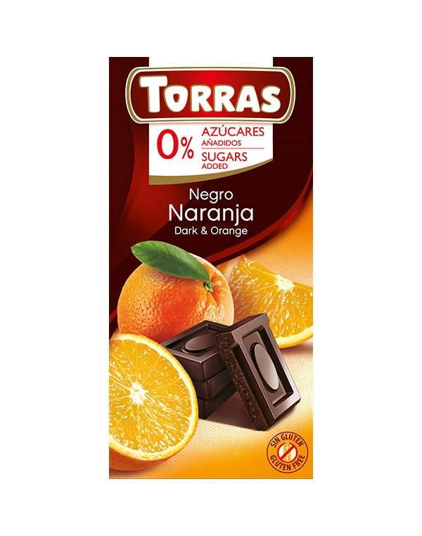 Czekolada gorzka z Pomarańczą bez cukru 75g Torras