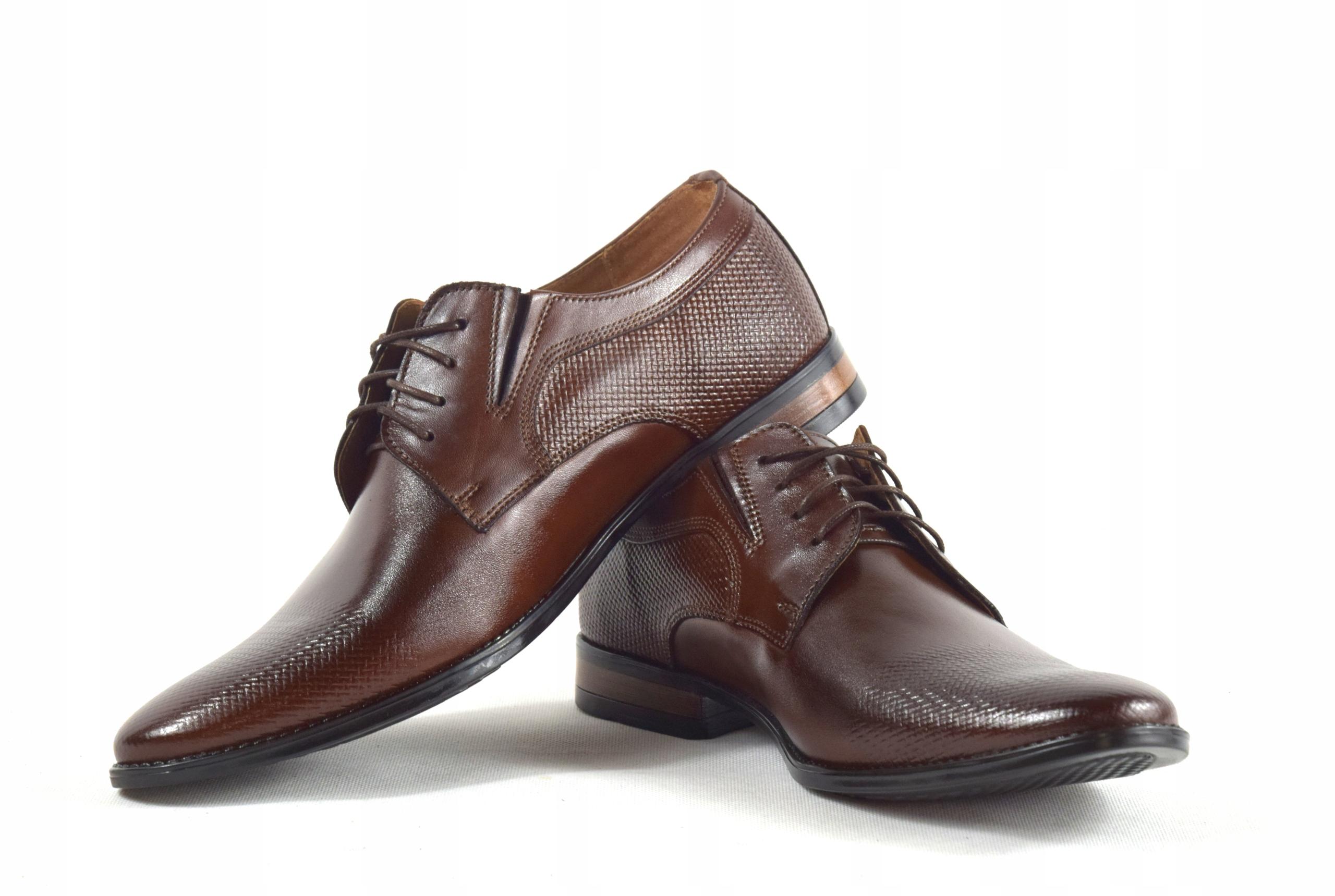 Buty męskie wizytowe skórzane brązowe obuwie 359/1 Oryginalne opakowanie producenta pudełko
