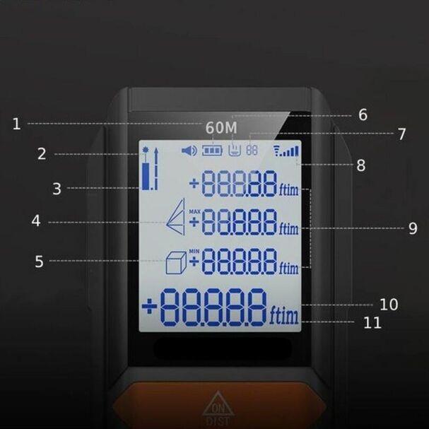 DALMIERZ LASEROWY MIERNIK ODLEGŁOŚCI CYFROWY LCD EAN 2021033077898
