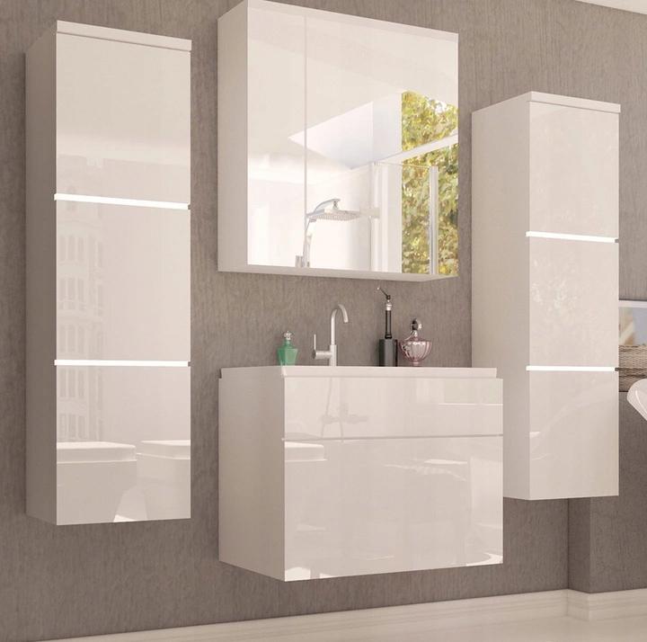 Meble łazienkowe szafki lustro biały połysk PARIS