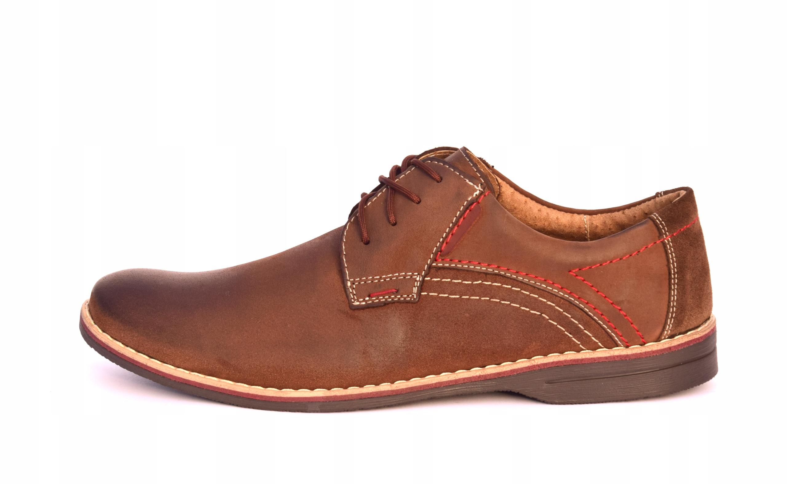 Buty męskie brązowe obuwie skórzane polskie 242 Rozmiar 41