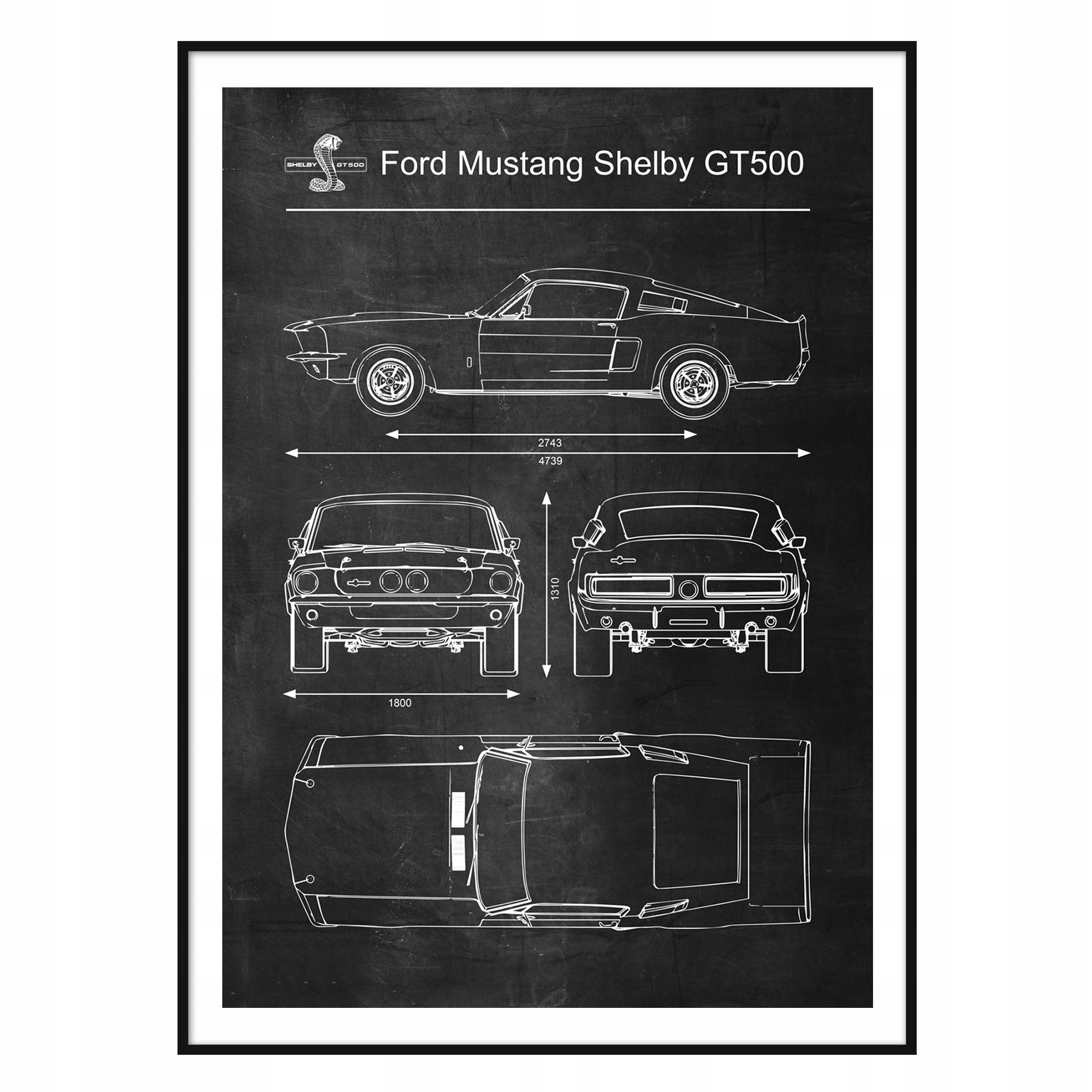 Plagát Ford Mustang Shelby GT500 Retro Patent A1 +