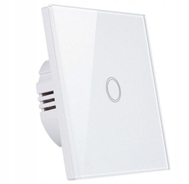 Włącznik ścienny dotykowy LED szklany pojedynczy
