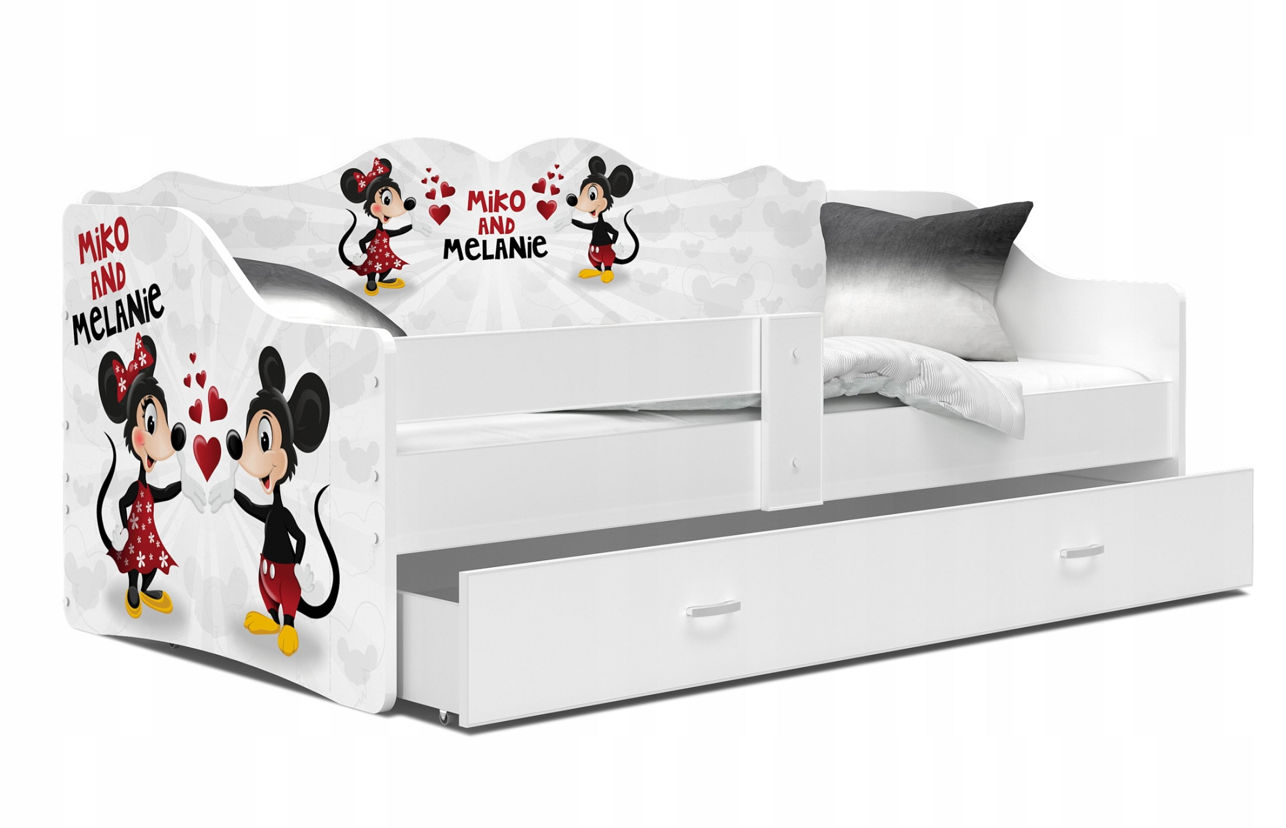 Детская кроватка с выдвижным матрасом 160x80 NELI white