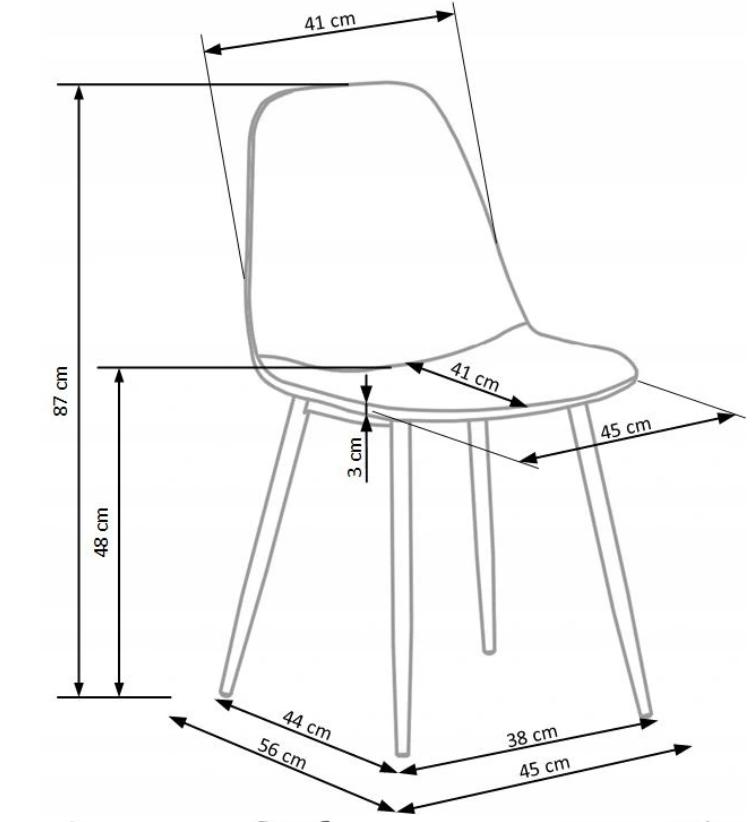 Krzesło Tapicerowane Pikowane Popiel Welur Trevi2 Wysokość mebla 87 cm