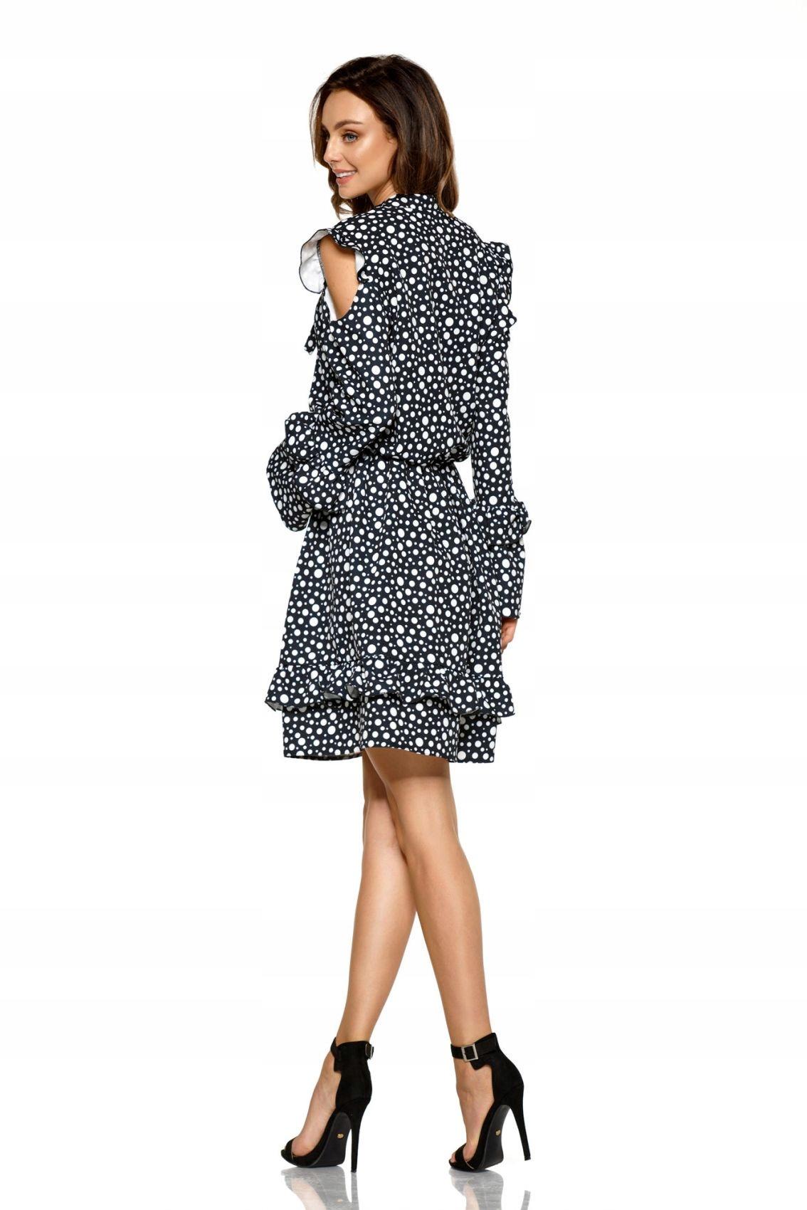 Modna sukienka z wyciętymi ramionami L276 kropki L
